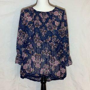 Knox Rose Blue Floral print Size Medium